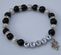 Four Leaf Clover Personalised Bracelet - Sparkle & Bling Style